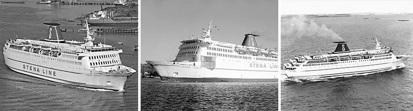 v.l.n.r. de Stena Danica III op weg naar de haven, op zee en vanuit de lucht gefotografeerd.