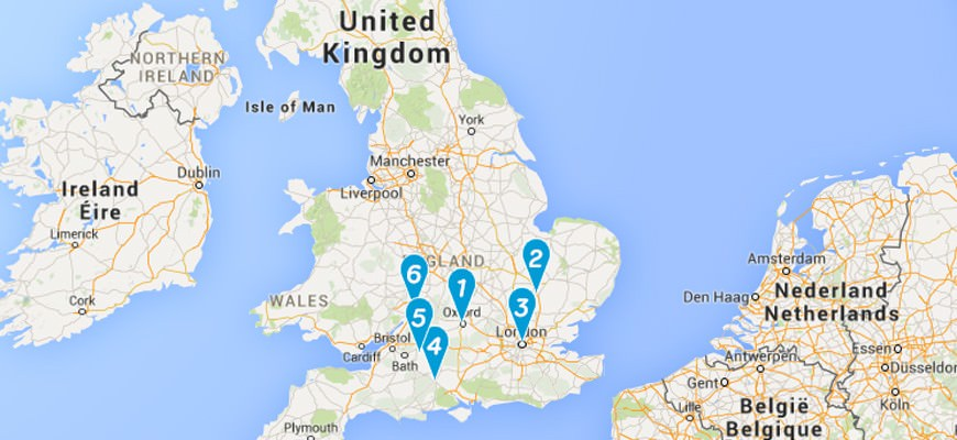 1. Oxford, 2. Cambridge, 3. London, 4. Stonehenge, 5. Lacock, 6. Gloucester