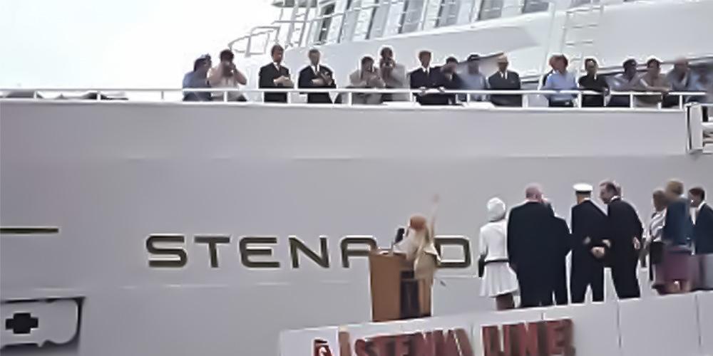 Pippi Langkous doopt de Stena Danica op de Stenpiren in Göteborg op 30 juni 1969.