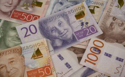De nieuwe Zweedse bankbiljetten van 20, 50, 100, 200, 500 en 1.000 kronen