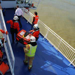 Stena Hollandica oefening – aankomst brandweerteam