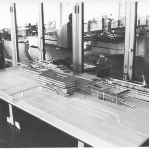Miniatuur model van de Stena Line terminal in Göteborg in 1971