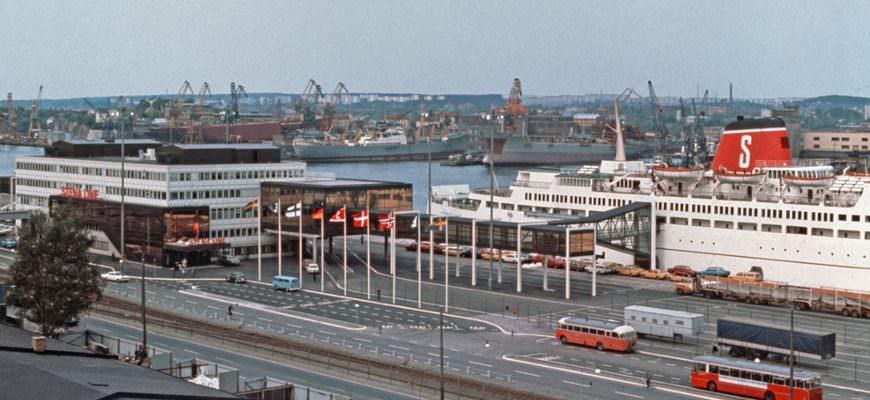 Stena Line terminal in Göteborg op 1 mei 1972