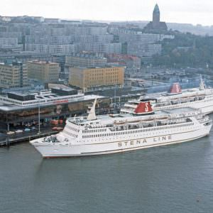 Masthuggsterminalen met Stena Jutlandica en Stena Olympica in 1977