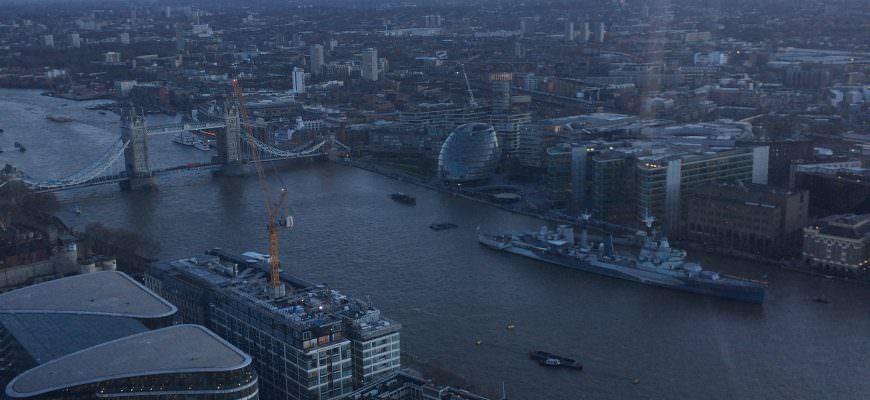 Uitzicht vanuit Sky Garden in Londen