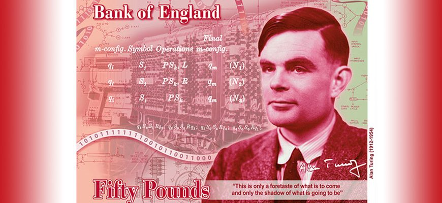 Het concept van het nieuwe 50 pond biljet met Alan Turing